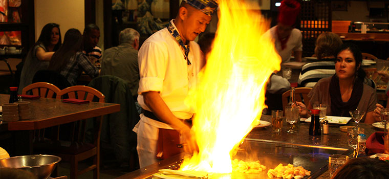 Hibachi chef and fire, Syracuse and Liverool NY